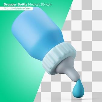 Medicijn dispenser druppelaar 3d illustratie 3d pictogram bewerkbare kleur geïsoleerd