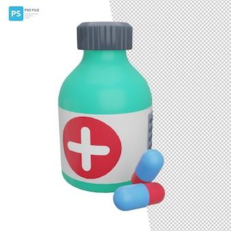 Medicijnen en pillen 3d-illustratieontwerpactiva