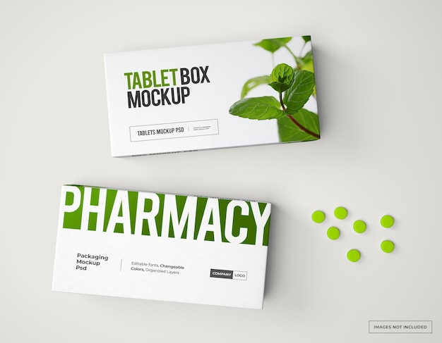 Medicijnmerk- en verpakkingsmodel met pillen