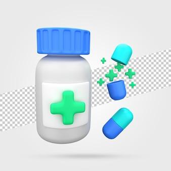 Medicijnpot met pillen 3d render