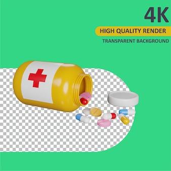 Medicina derramada renderizado de dibujos animados modelado 3d