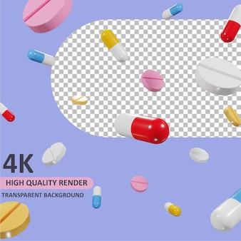 Medicina que cae, representación de dibujos animados, modelado 3d