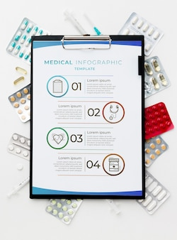 Medicina vista dall'alto su sfondo bianco