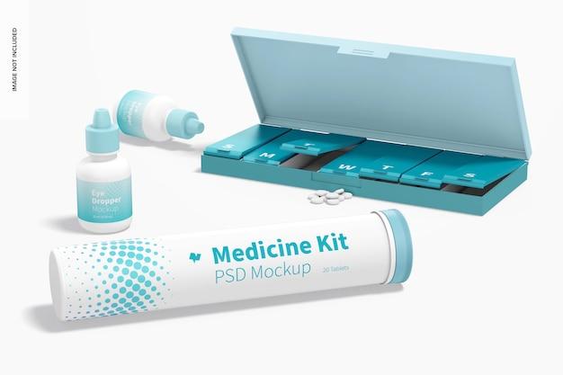 Medicine kit mockup, perspectief