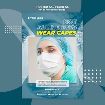 Medico al modello di poster dell'ospedale