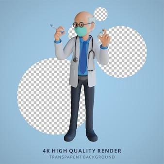 Médico senior masculino con una máscara que sostiene una ilustración de personaje 3d de inyección de vacuna