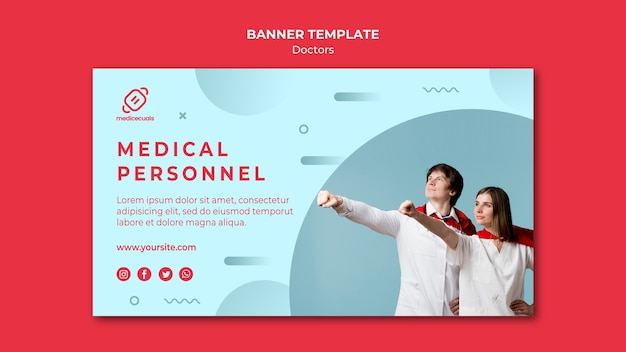 Médicos con plantilla de banner de capa
