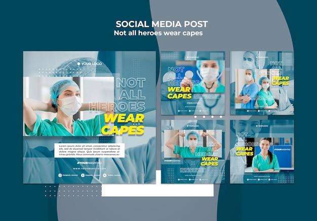 Médicos en la plantilla de publicación de redes sociales del hospital