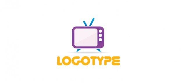 Medios de comunicación libres plantilla de logotipo con un televisor retro
