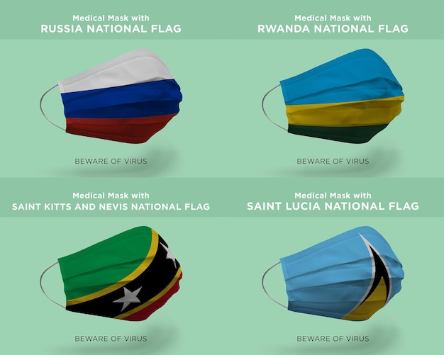 Medisch masker met rusland rwanda saint kitts en nevis nation flags