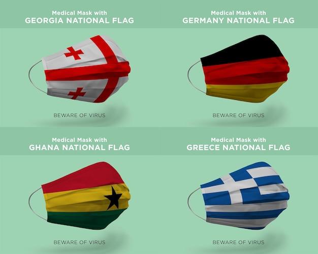 Medisch masker met vlaggen van georgië, duitsland, ghana, griekenland