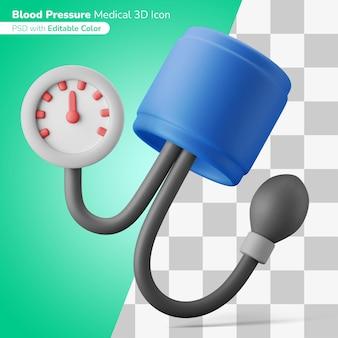Medische analoge bloeddrukcontrole 3d illustratie 3d pictogram bewerkbare kleur geïsoleerd