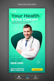 Medische gezondheid instagram verhaal premium psd-sjabloon over coronavirus of convid-19