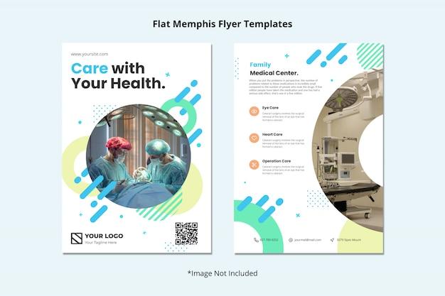 Medische gezondheid tandarts ziekenhuis flyer sjabloon memphis stijl