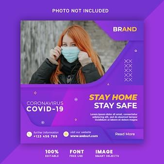 Medische gezondheidsbanner over coronavirus covid-19, social media post-bannermalplaatje psd