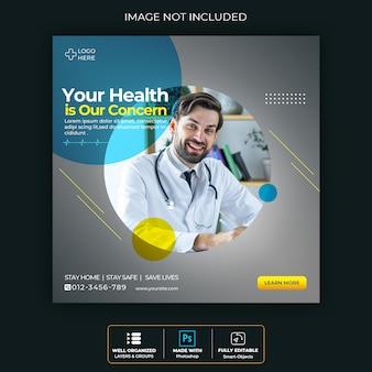 Medische gezondheidsbanner over coronavirus, sociale media instagram postbanner