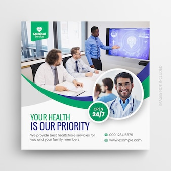 Medische gezondheidszorg flyer sociale media post sjabloon voor spandoek webpromotie