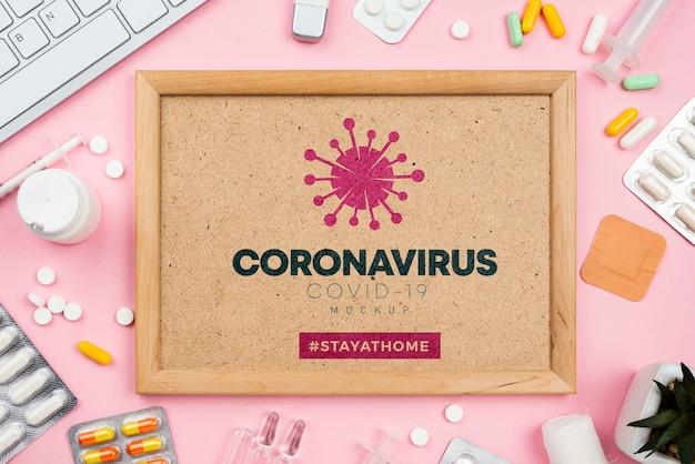 Medische kantoor met coronavirus frame