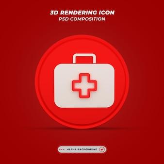Medische kit pictogram in 3d-rendering