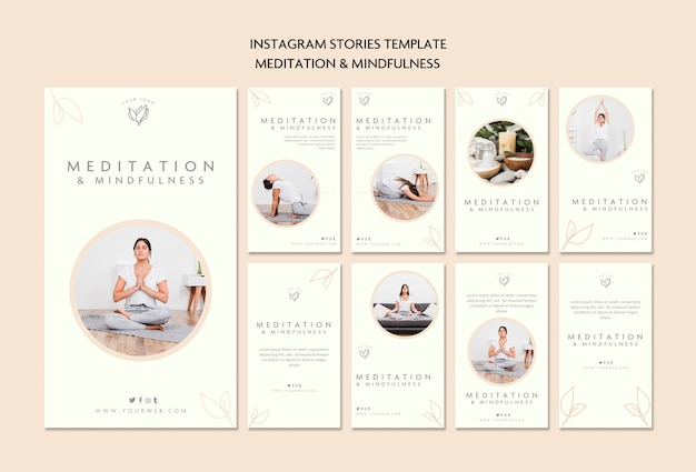Meditación y mindfulness instagram stories