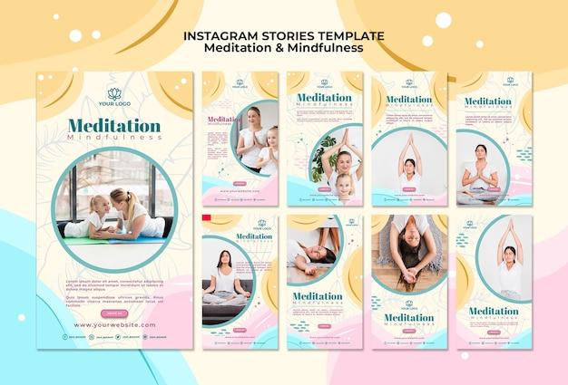 Meditación y mindfulness instagram stories