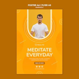 Meditar plantilla de póster todos los días