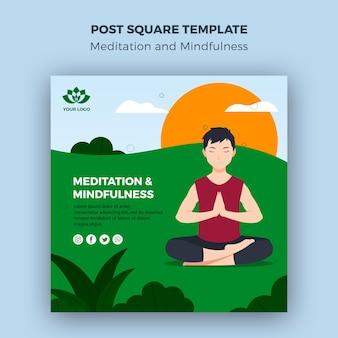 Meditatie en mindfulness post vierkante sjabloon