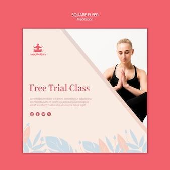 Meditatie klassen vierkante flyer-sjabloon