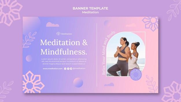 Meditatie levensstijl horizontale banner sjabloon