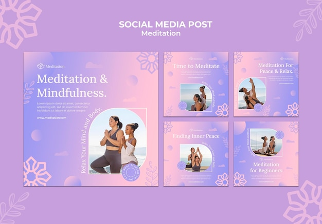 Meditatie lifestyle instagram posts collectie