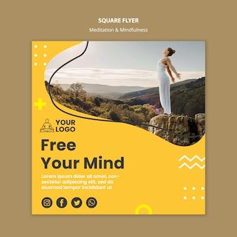 Meditatie & mindfulness vierkante flyer-sjabloon