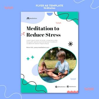 Meditatie om stress-flyersjabloon te verminderen