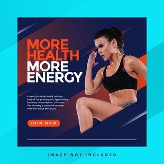 Meer gezondheid meer energie sport instagram sjabloon