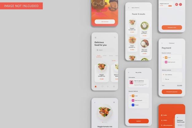 Meerdere app ui mockup bovenhoekweergave