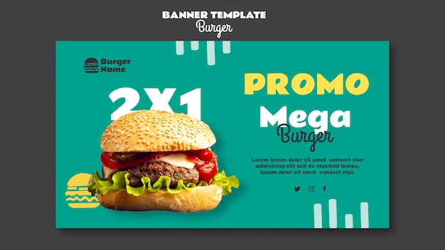 Mega burger banner websjabloon