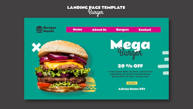 Mega burger bestemmingspagina websjabloon