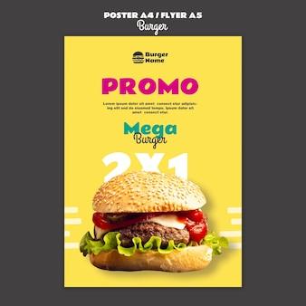 Mega hamburger poster afdruksjabloon