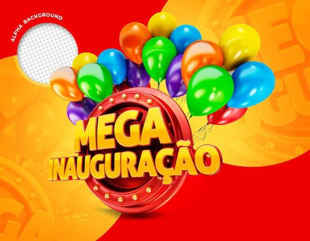 Mega openingsbanner in brazilië 3d render promotiesjabloon