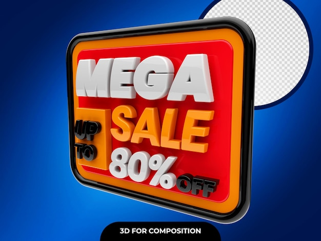 Mega sale 3d met korting tot 80 procent korting op premium psd