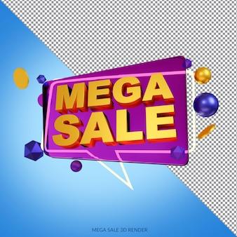 Mega sale 50 procent korting op 3d-weergave