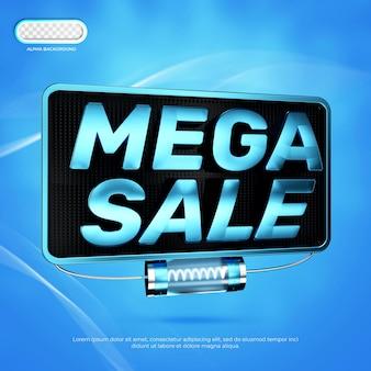 Mega sale banner 3d render premium psd
