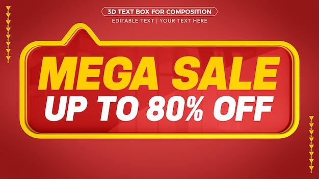 Mega sale d-tekstvak met korting in 3d-rendering