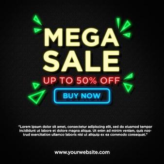 Mega vendita in promozione banner stile neon