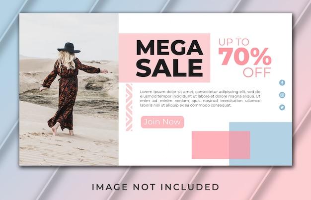 Mega venta banner plantilla de página de destino premium psd