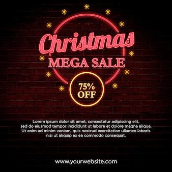 Mega venta de navidad 75% de descuento banner en diseño de estilo neón
