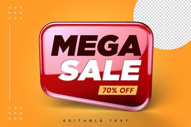 Mega verkoop 3d banner met geïsoleerd