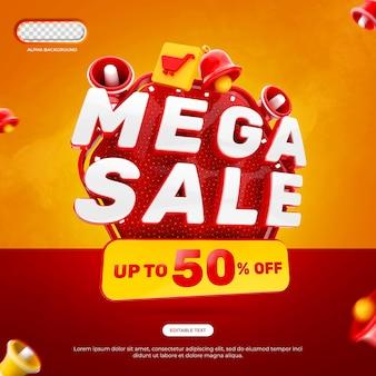 Mega verkoop banner 3d render geïsoleerd