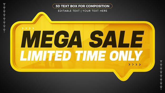 Mega-verkoop geel d-tekstvak voor beperkte tijd alleen in 3d-weergave