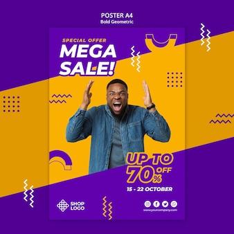 Mega verkoop vet geometrisch model poster afdruksjabloon