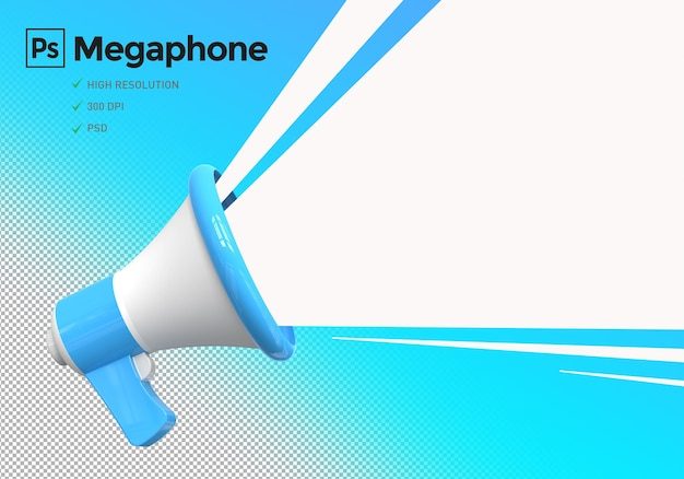 Megáfono para maqueta de diseños publicitarios.